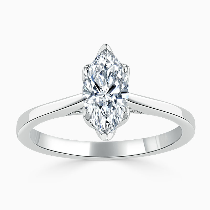 18ct White Gold Marquise Cut Diamond Set Lotus Engagement Ring
