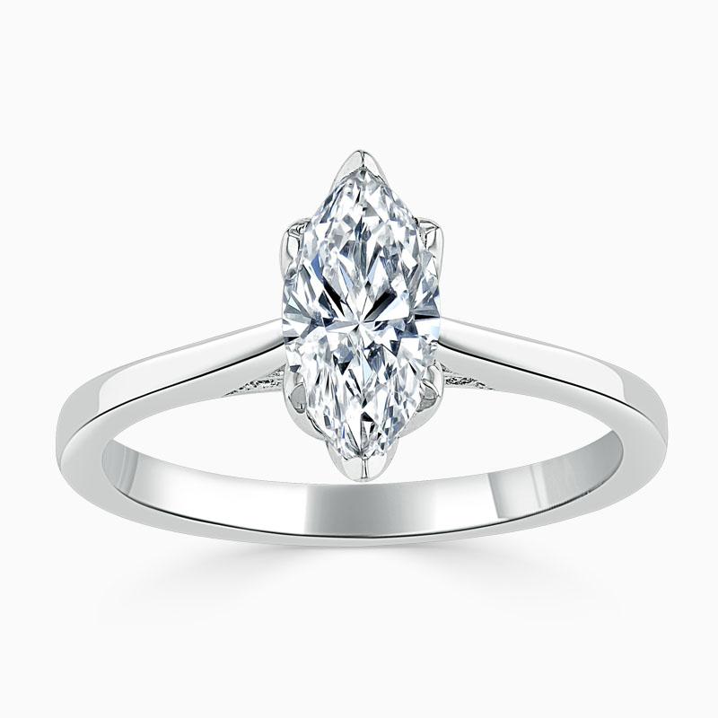 18ct White Gold Marquise Cut Diamond Set Lotus Engagement Ring