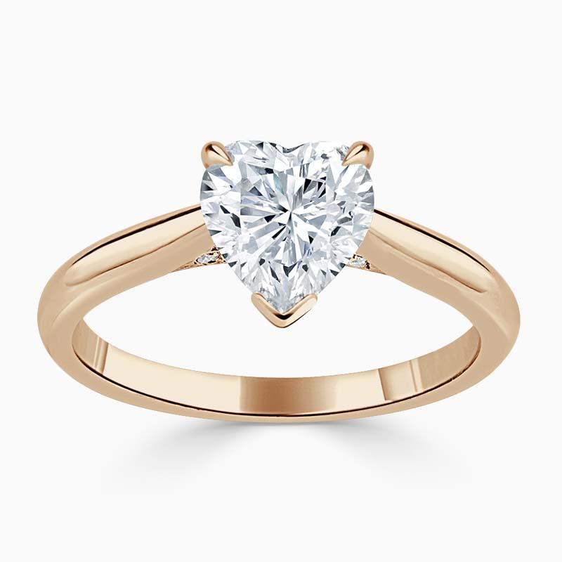 18ct Rose Gold Heart Shape Diamond Set Lotus Engagement Ring