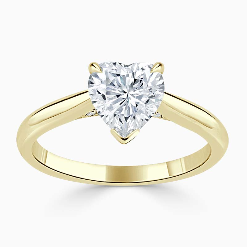 18ct Yellow Gold Heart Shape Diamond Set Lotus Engagement Ring