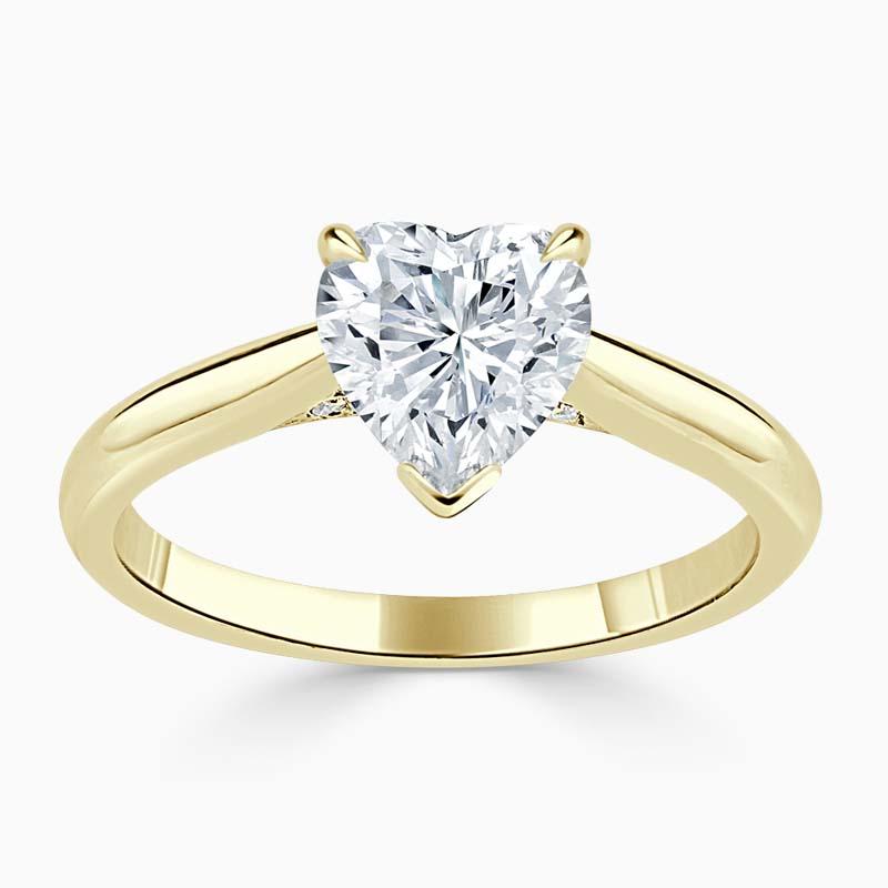 18ct Yellow Gold Heart Shape Diamond Set Lotus Engagement Ring