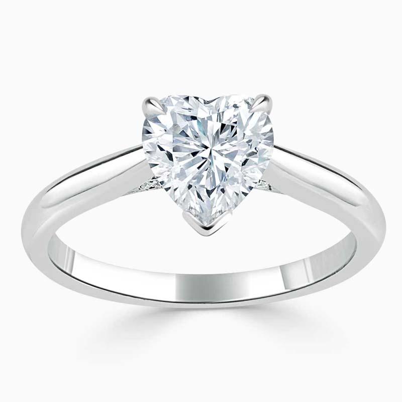 Platinum Heart Shape Diamond Set Lotus Engagement Ring