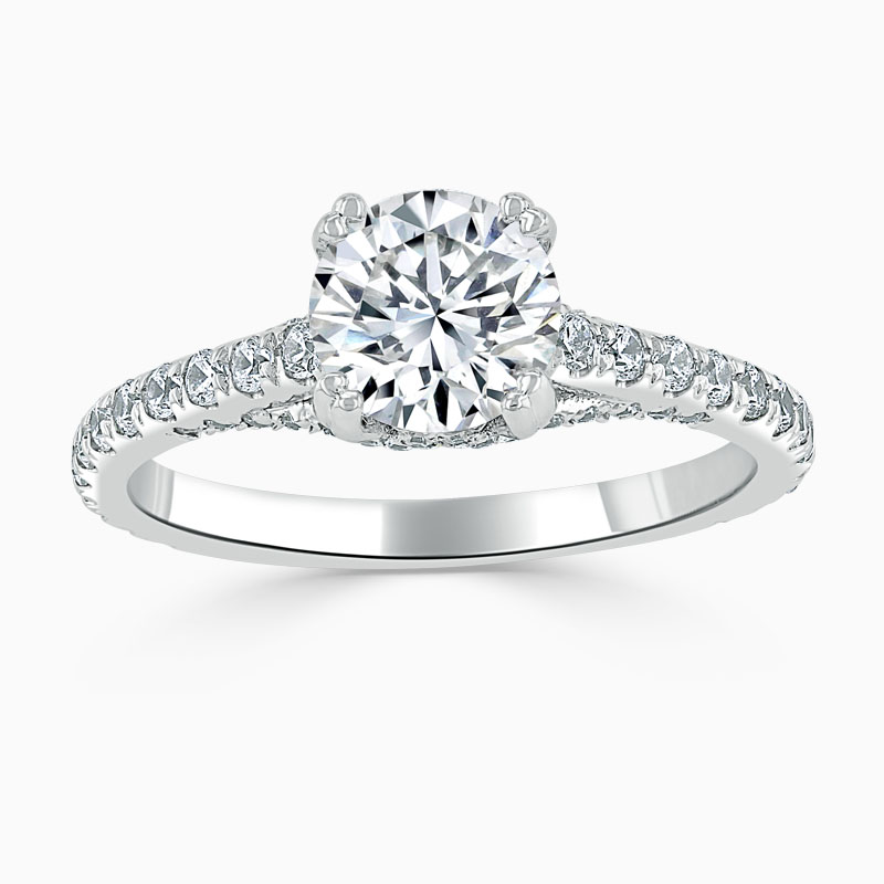 Platinum Round Brilliant Entwined Set Engagement Ring