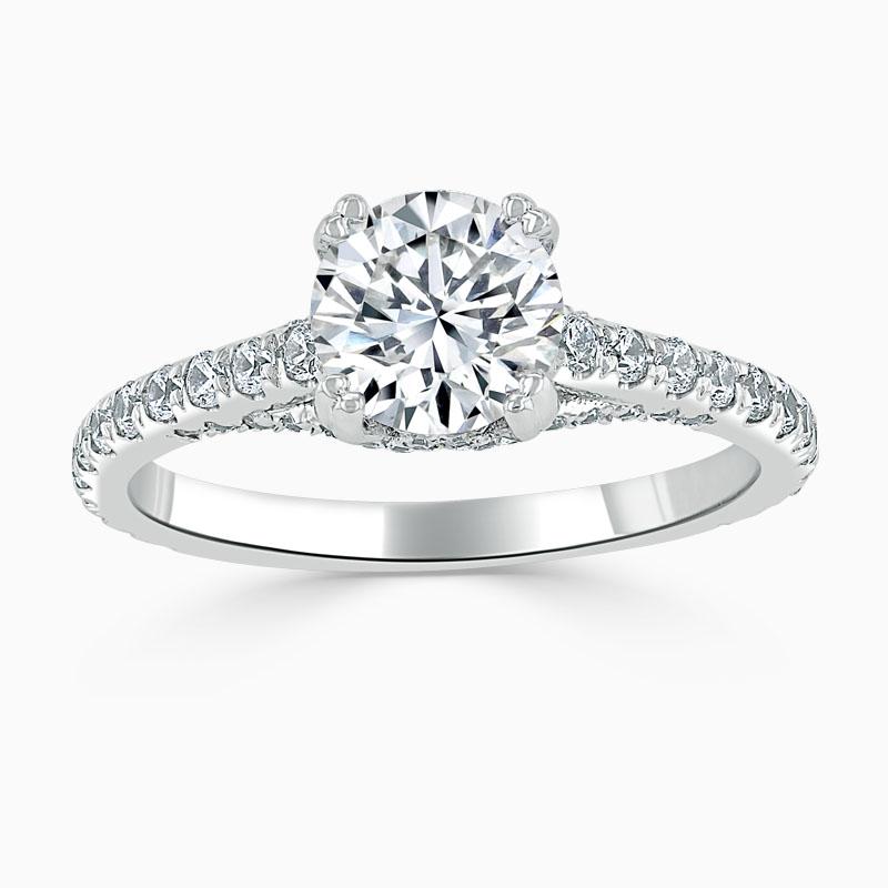 Platinum Round Brilliant Entwined Set Engagement Ring