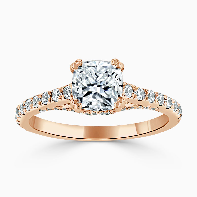 18ct Rose Gold Cushion Cut Entwined Set Engagement Ring