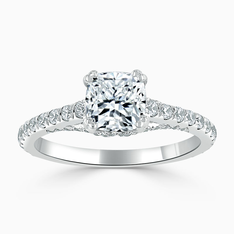18ct White Gold Cushion Cut Entwined Set Engagement Ring
