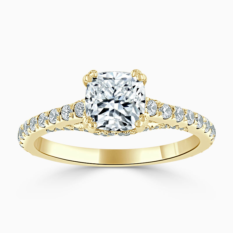 18ct Yellow Gold Cushion Cut Entwined Set Engagement Ring
