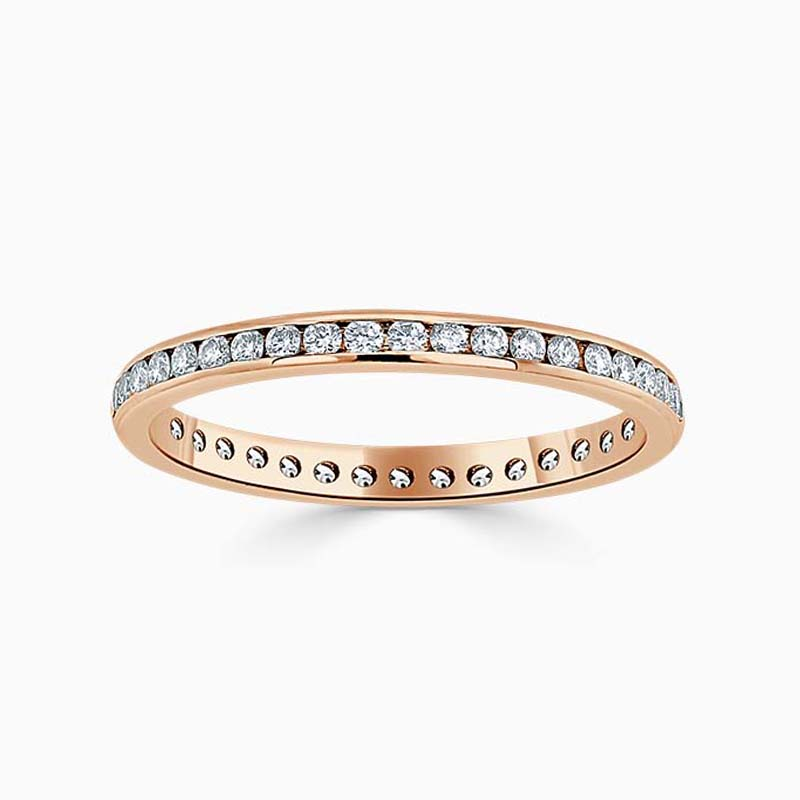 18ct Rose Gold 2.00mm Round Brilliant Channel Set Full Eternity Ring
