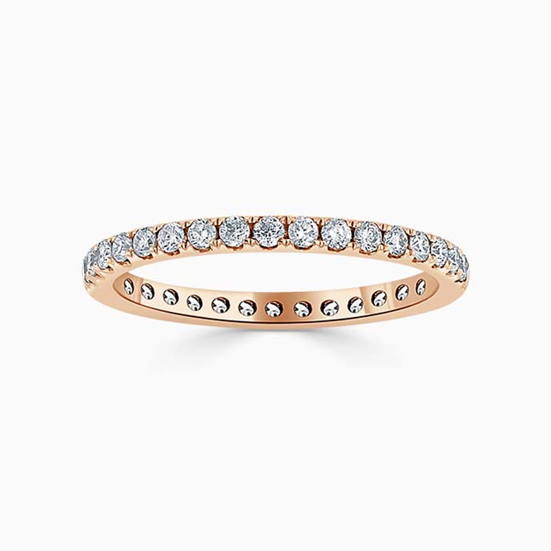 18ct Rose Gold 2.00mm Round Brilliant Cutdown Set Full Eternity Ring