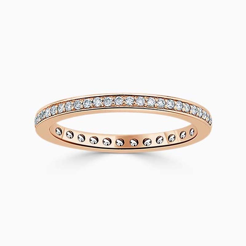 18ct Rose Gold 2.00mm Round Brilliant Pavé Set Full Eternity Ring
