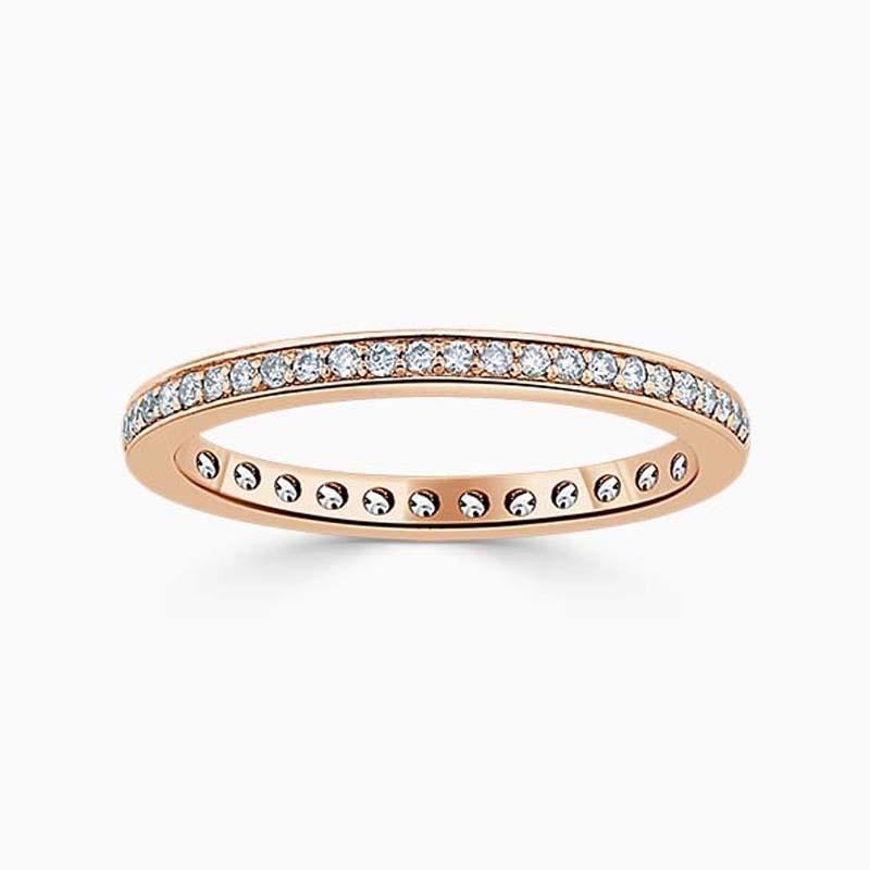18ct Rose Gold 2.00mm Round Brilliant Pavé Set Full Eternity Ring