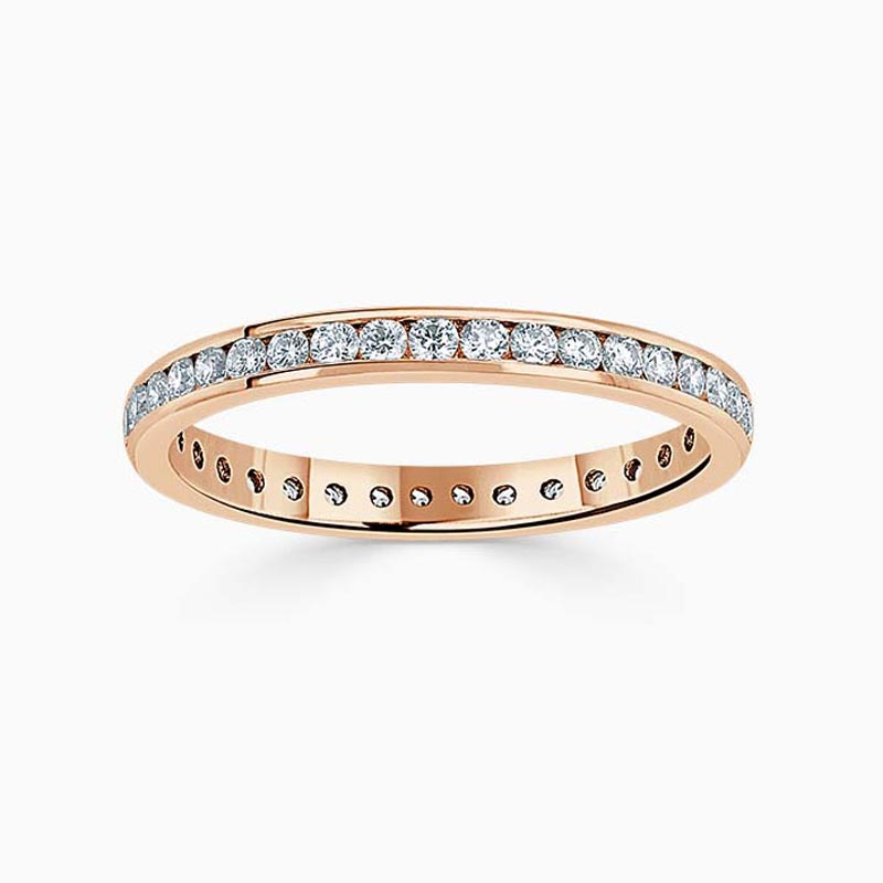 18ct Rose Gold 2.25mm Round Brilliant Channel Set Full Eternity Ring