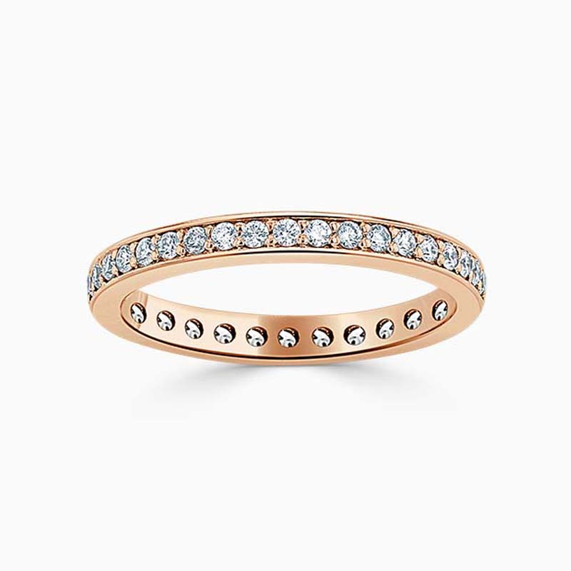 18ct Rose Gold 2.25mm Round Brilliant Pavé Set Full Eternity Ring