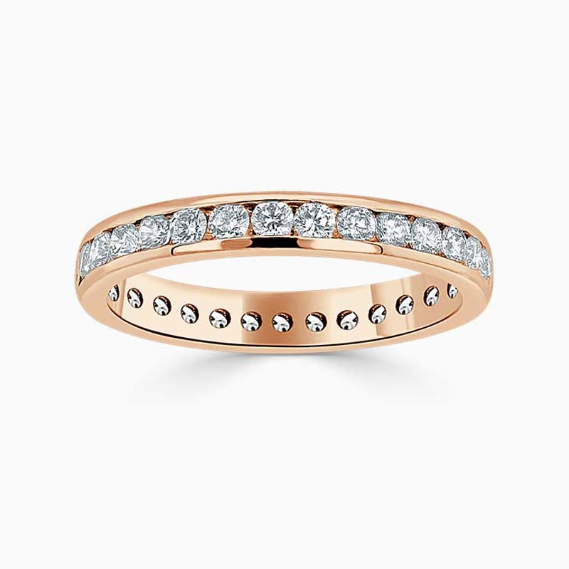 18ct Rose Gold 3.00mm Round Brilliant Channel Set Full Eternity Ring