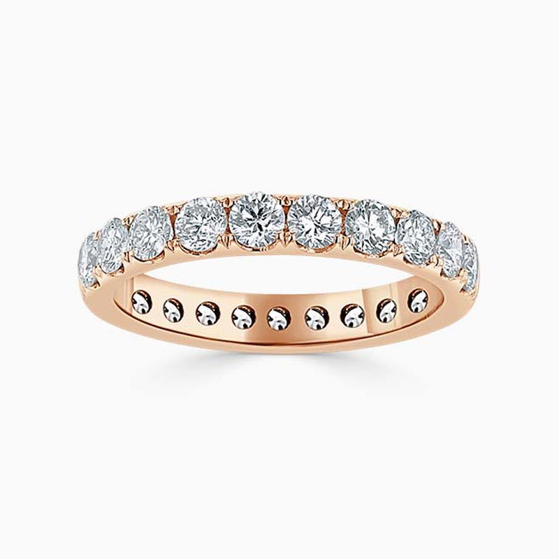 18ct Rose Gold 3.00mm Round Brilliant Cutdown Set Full Eternity Ring