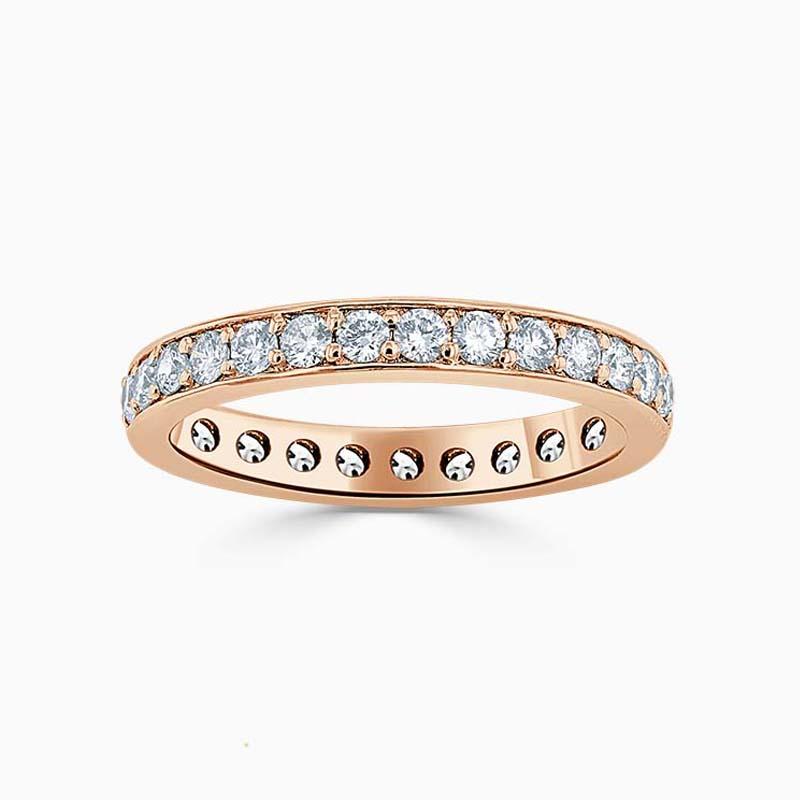 18ct Rose Gold 3.00mm Round Brilliant Pavé Set Full Eternity Ring