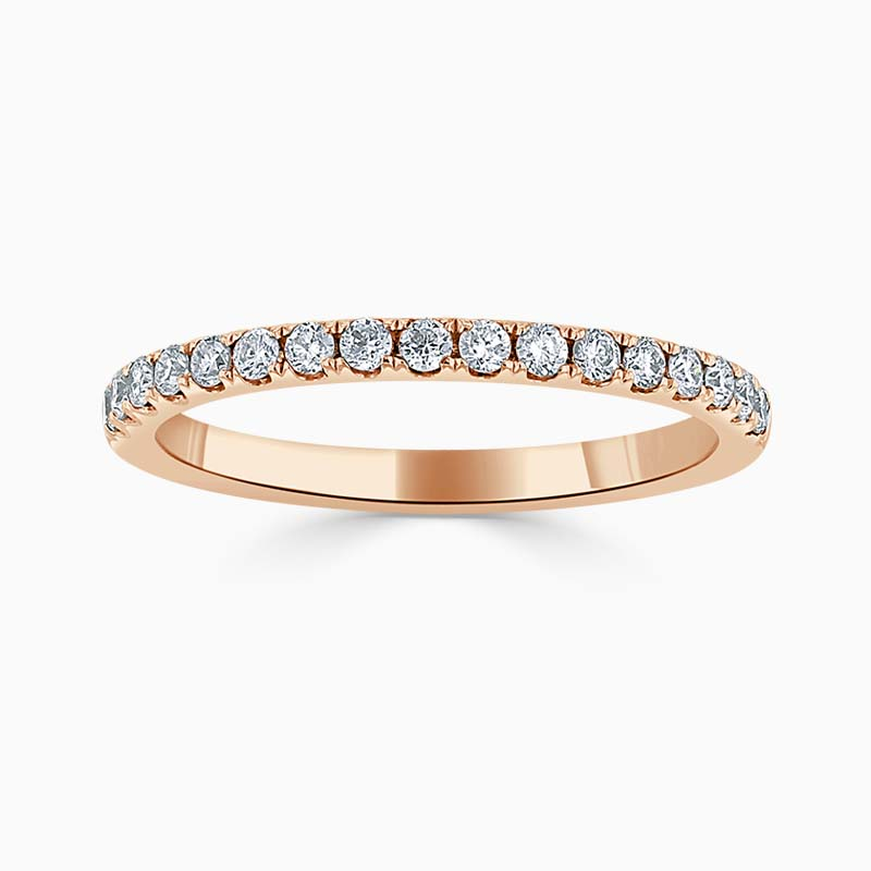18ct Rose Gold 2.00mm Round Brilliant Cutdown Set Half Eternity Ring