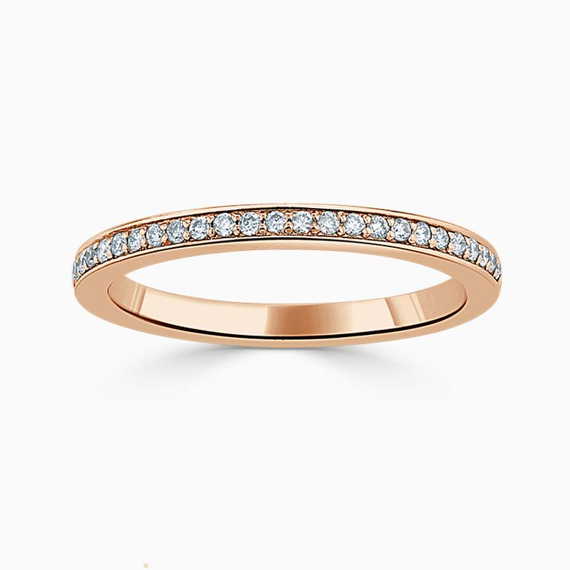 18ct Rose Gold 2.00mm Round Brilliant Pavé Set Half Eternity Ring