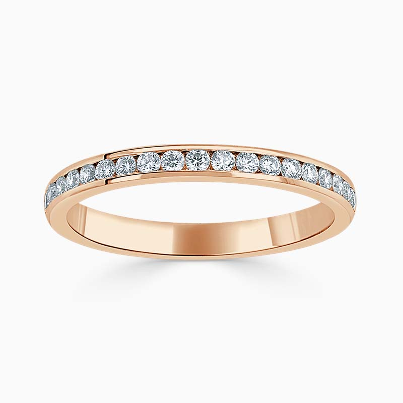 18ct Rose Gold 2.25mm Round Brilliant Channel Set Half Eternity Ring