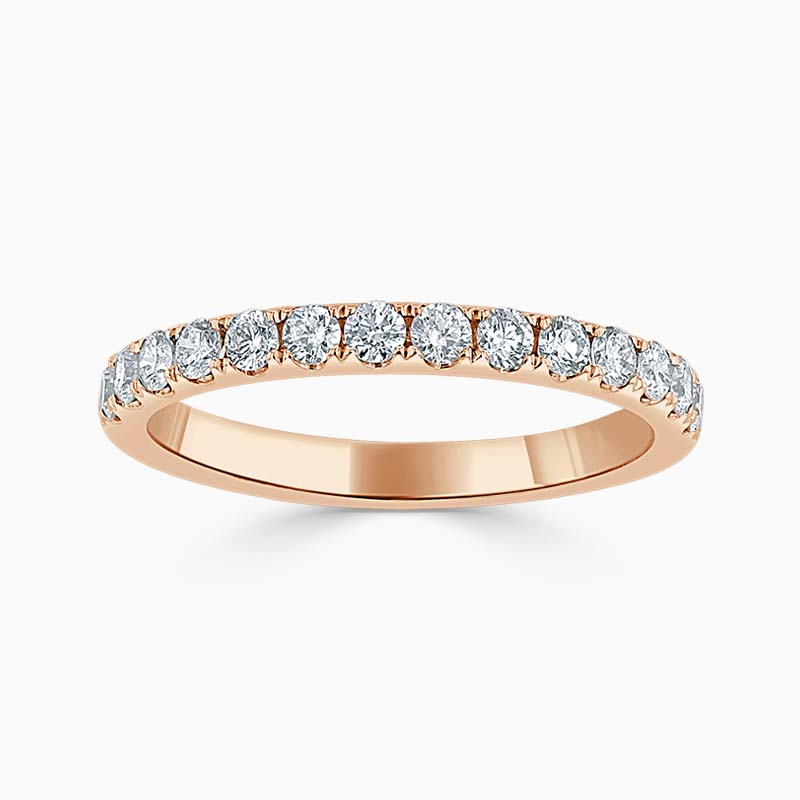 18ct Rose Gold 2.25mm Round Brilliant Cutdown Set Half Eternity Ring