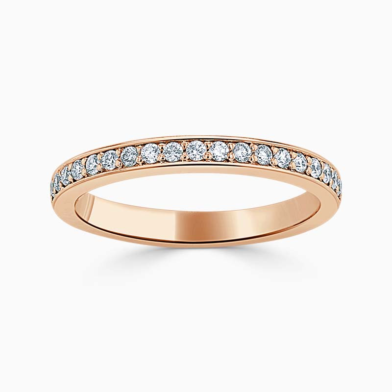 18ct Rose Gold 2.25mm Round Brilliant Pavé Set Half Eternity Ring