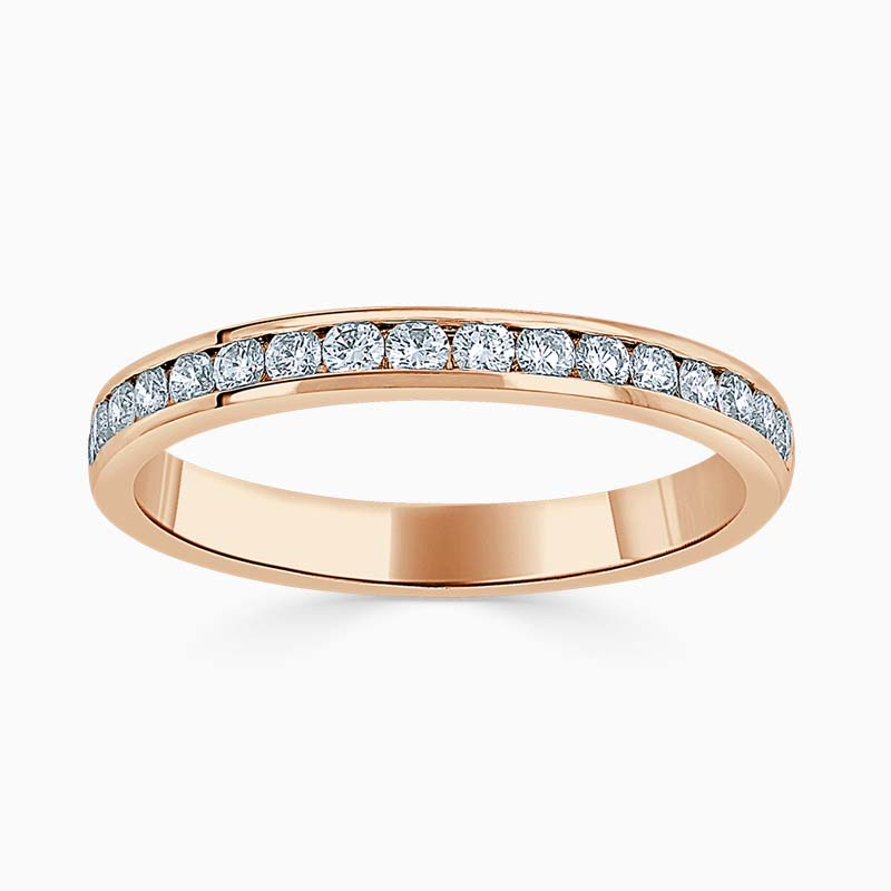 18ct Rose Gold 2.50mm Round Brilliant Channel Set Half Eternity Ring