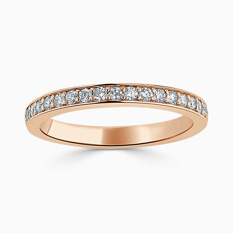 18ct Rose Gold 2.50mm Round Brilliant Pavé Set Half Eternity Ring