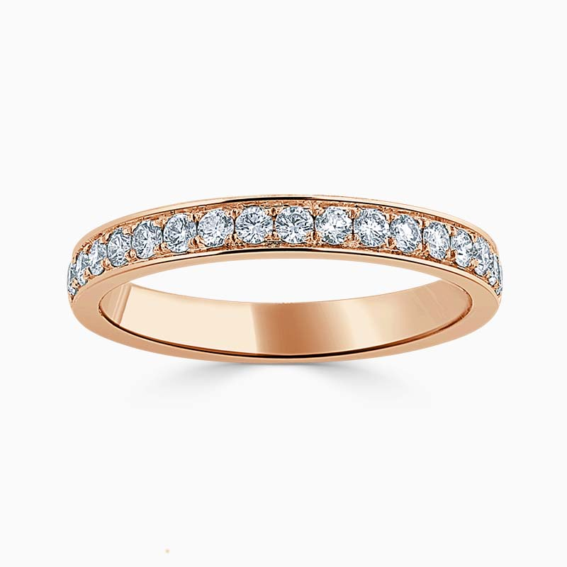 18ct Rose Gold 2.75mm Round Brilliant Pavé Set Half Eternity Ring