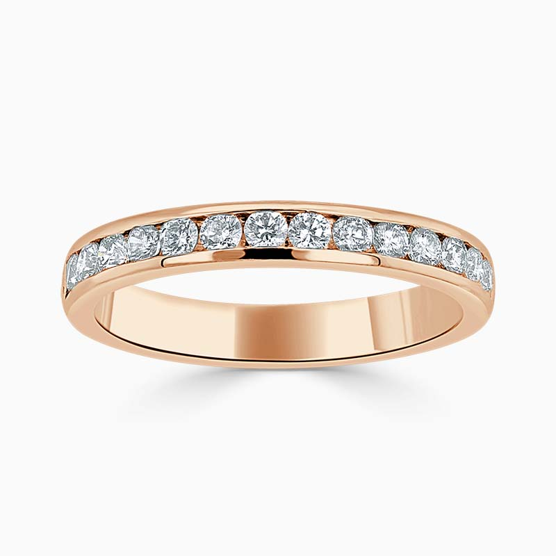 18ct Rose Gold 3.00mm Round Brilliant Channel Set Half Eternity Ring