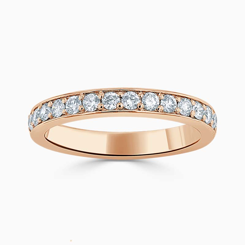 18ct Rose Gold 3.00mm Round Brilliant Pavé Set Half Eternity Ring