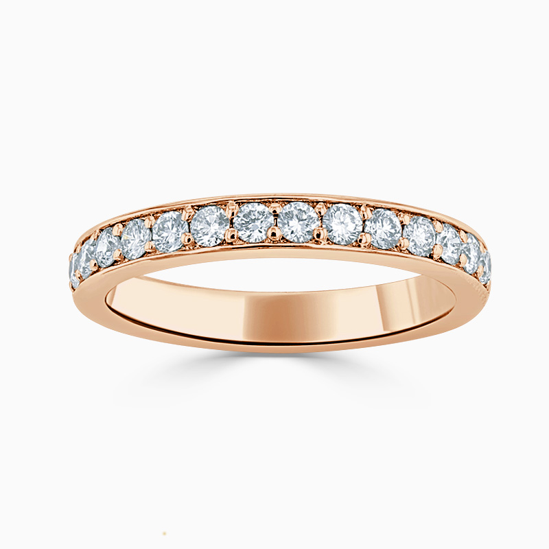 18ct Rose Gold 3.25mm Round Brilliant Pavé Set Half Eternity Ring