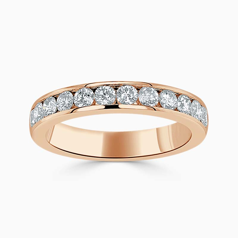 18ct Rose Gold 3.50mm Round Brilliant Channel Set Half Eternity Ring
