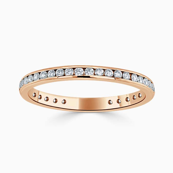 18ct Rose Gold 2.00mm Round Brilliant Channel Set Three Quarter Eternity Ring