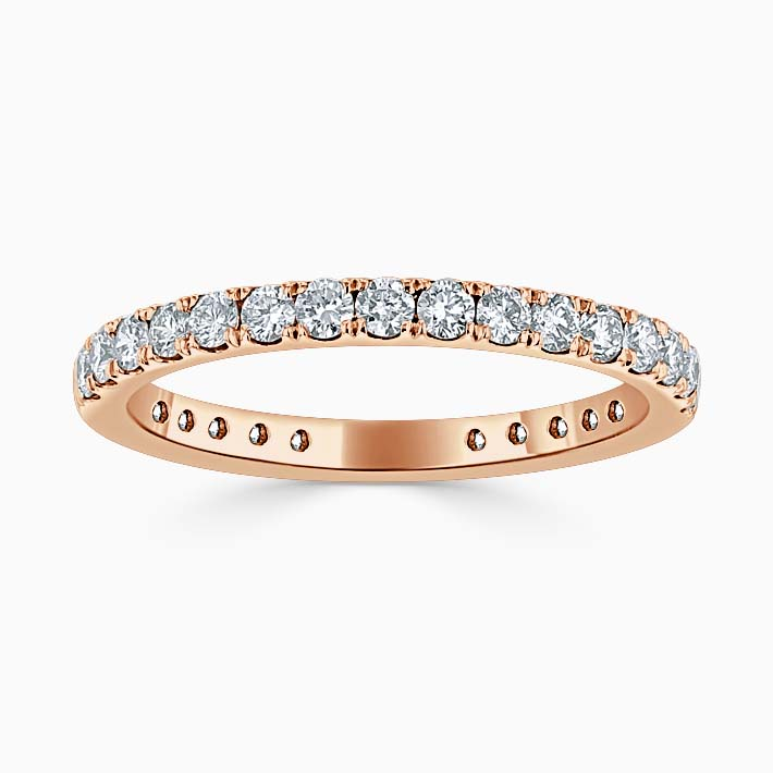 18ct Rose Gold 2.00mm Round Brilliant Cutdown Set Three Quarter Eternity Ring