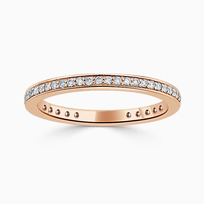 18ct Rose Gold 2.00mm Round Brilliant Pavé Set Three Quarter Eternity Ring