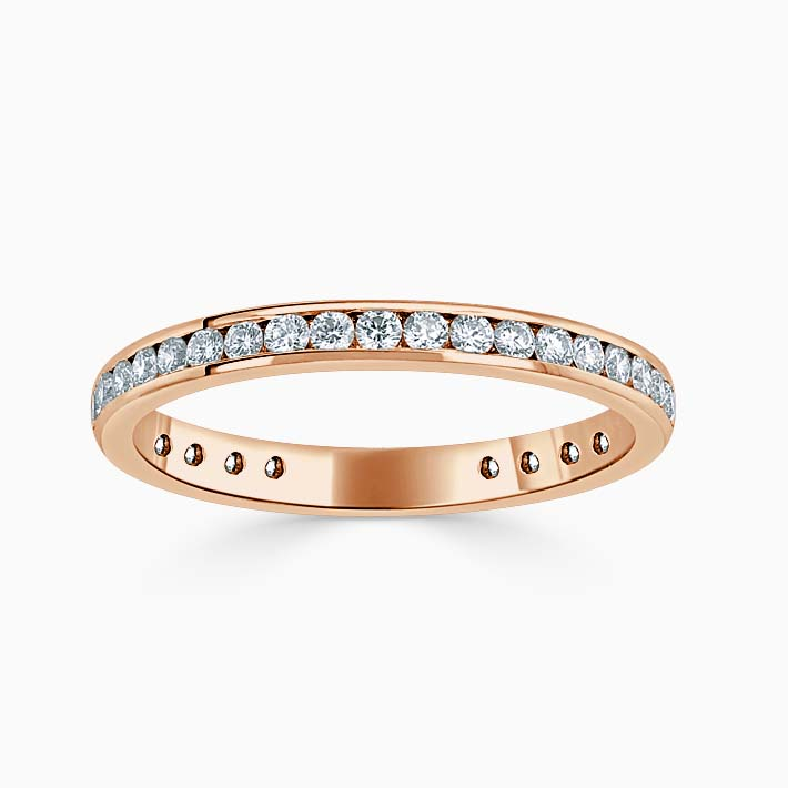 18ct Rose Gold 2.25mm Round Brilliant Channel Set Three Quarter Eternity Ring