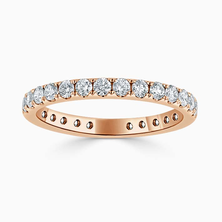 18ct Rose Gold 2.25mm Round Brilliant Cutdown Set Three Quarter Eternity Ring