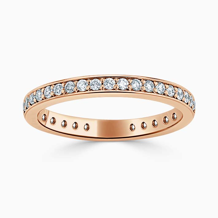18ct Rose Gold 2.25mm Round Brilliant Pavé Set Three Quarter Eternity Ring