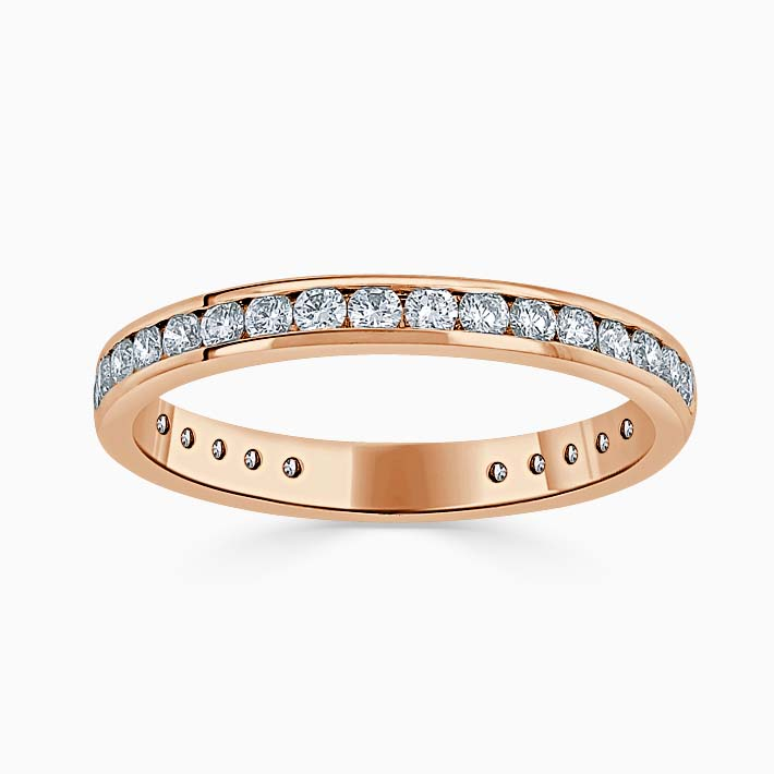 18ct Rose Gold 2.50mm Round Brilliant Channel Set Three Quarter Eternity Ring