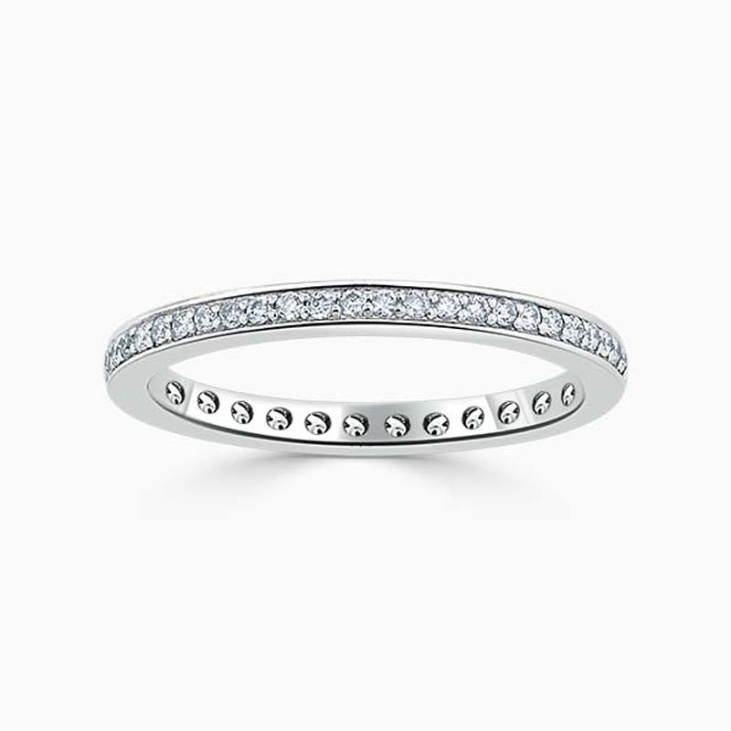 18ct White Gold 2.00mm Round Brilliant Pavé Set Full Eternity Ring