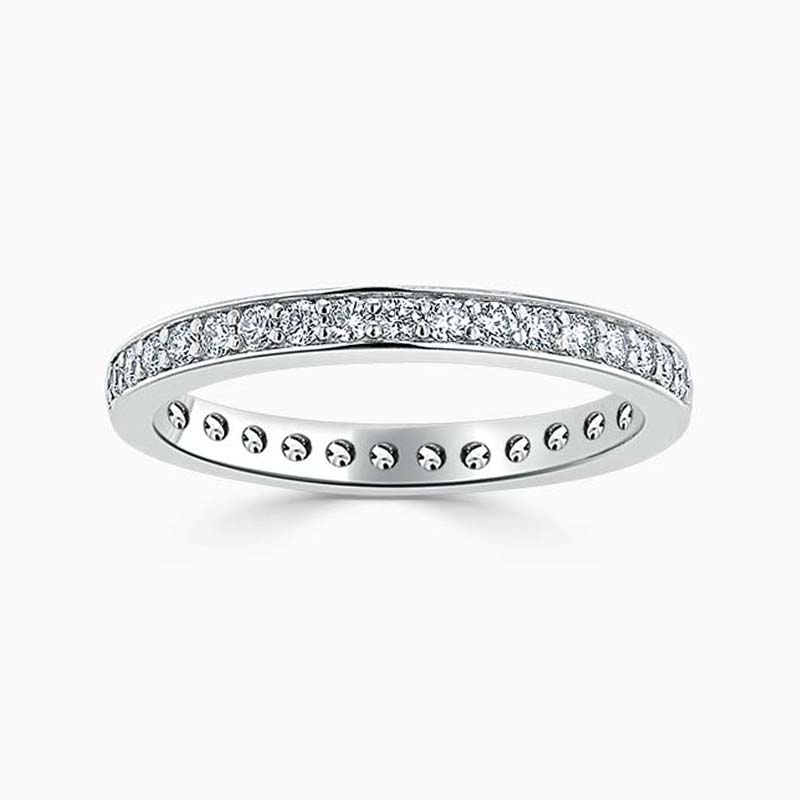 18ct White Gold 2.50mm Round Brilliant Pavé Set Full Eternity Ring