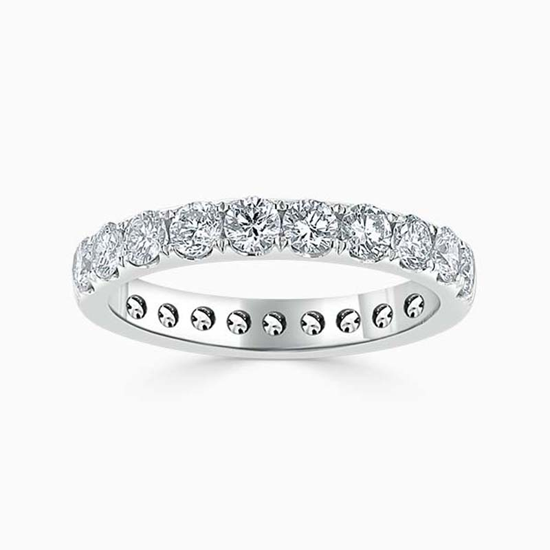 18ct White Gold 3.00mm Round Brilliant Cutdown Set Full Eternity Ring
