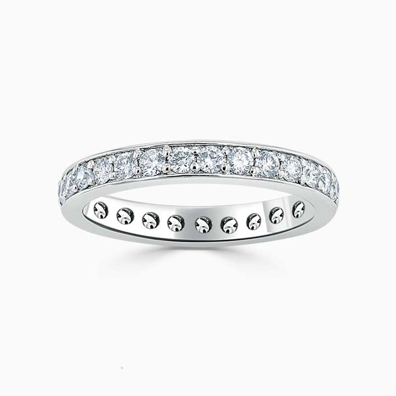 18ct White Gold 3.25mm Round Brilliant Pavé Set Full Eternity Ring