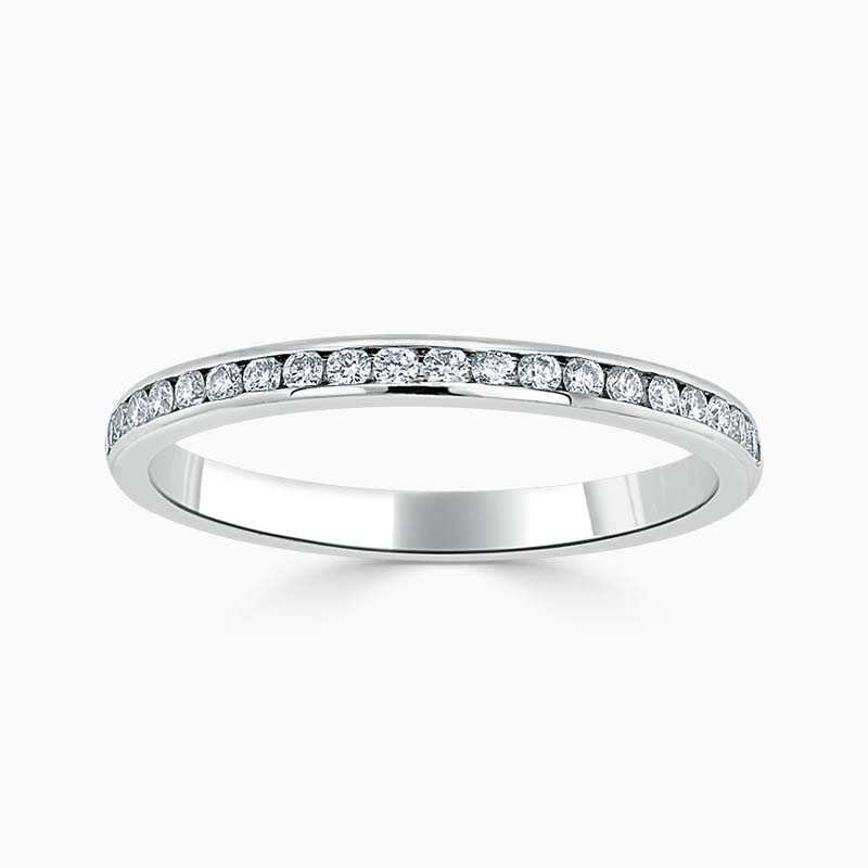 18ct White Gold 2.00mm Round Brilliant Channel Set Half Eternity Ring