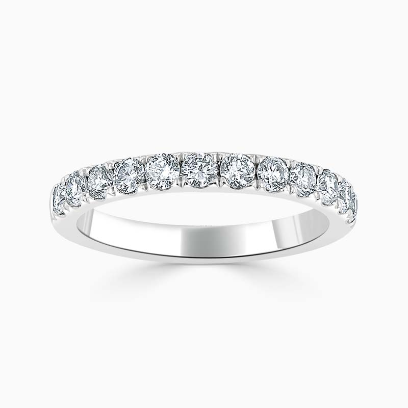 18ct White Gold 2.50mm Round Brilliant Cutdown Set Half Eternity Ring