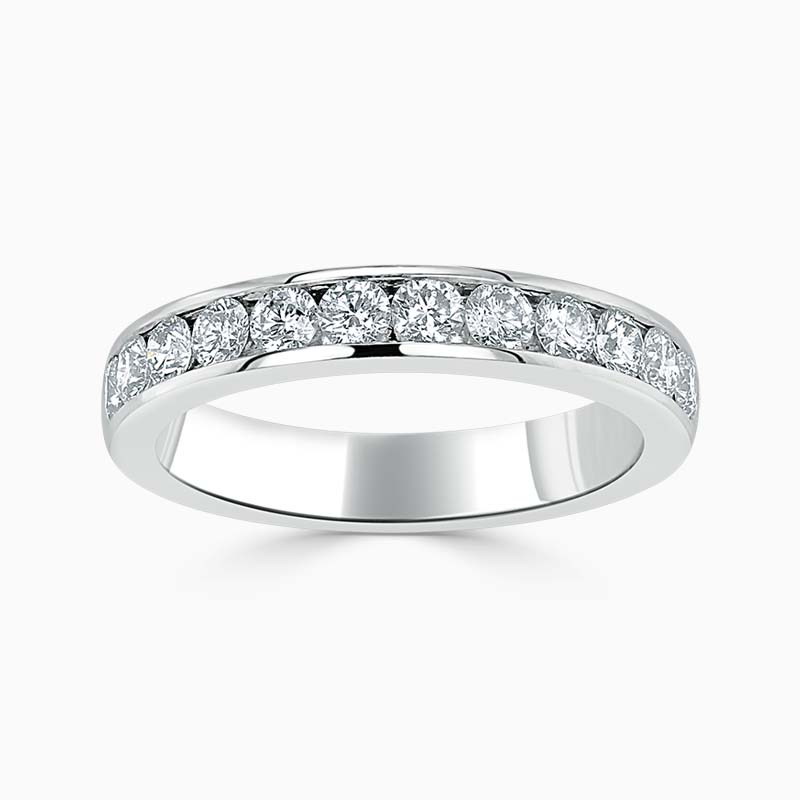 18ct White Gold 3.50mm Round Brilliant Channel Set Half Eternity Ring