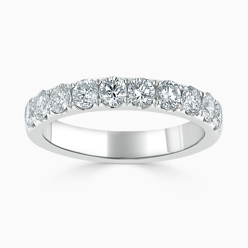 18ct White Gold 3.50mm Round Brilliant Cutdown Set Half Eternity Ring