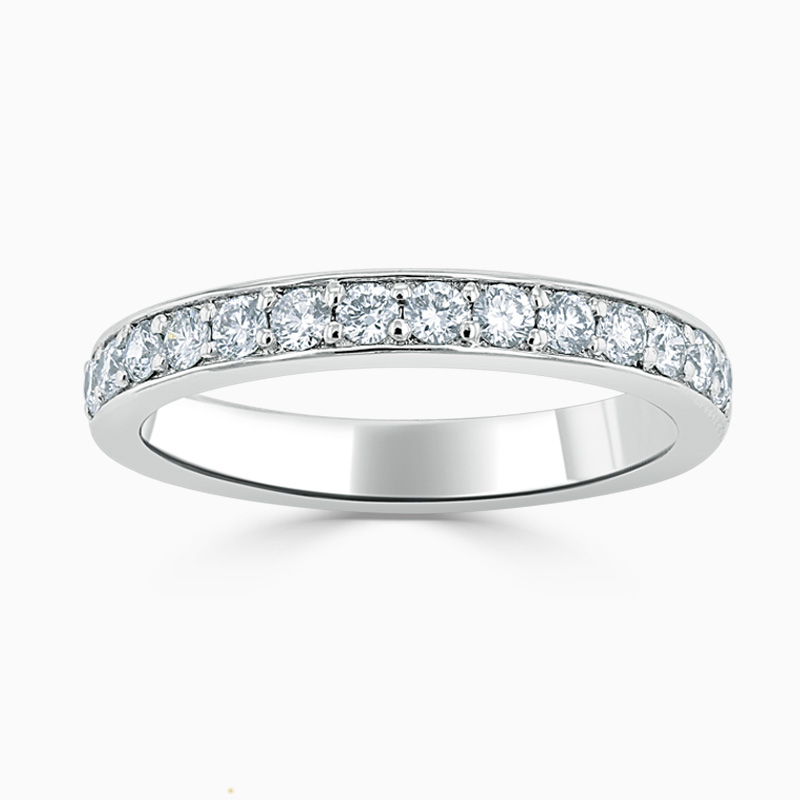 18ct White Gold 3.50mm Round Brilliant Pavé Set Half Eternity Ring