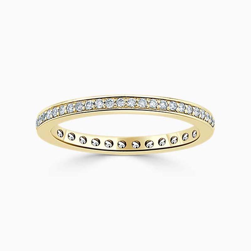 18ct Yellow Gold 2.00mm Round Brilliant Pavé Set Full Eternity Ring