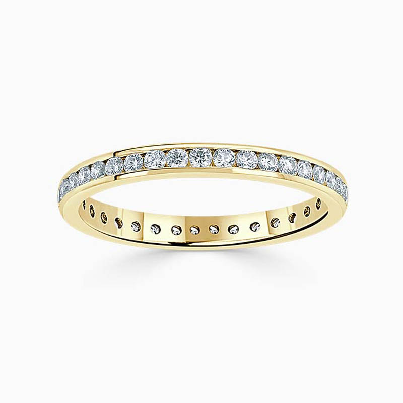 18ct Yellow Gold 2.25mm Round Brilliant Channel Set Full Eternity Ring
